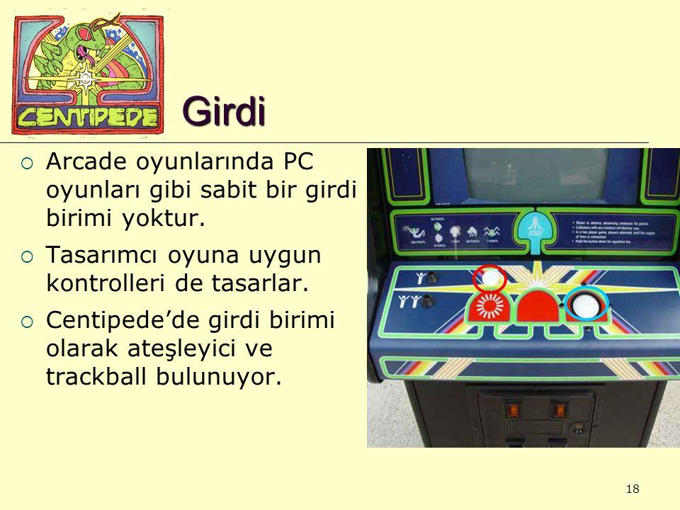 18 Girdi  Arcade oyunlarında PC oyunları gibi sabit bir girdi birimi yoktur.  Tasarımcı oyuna uygun kontrolleri de tasarlar.  Centipede'de girdi bi