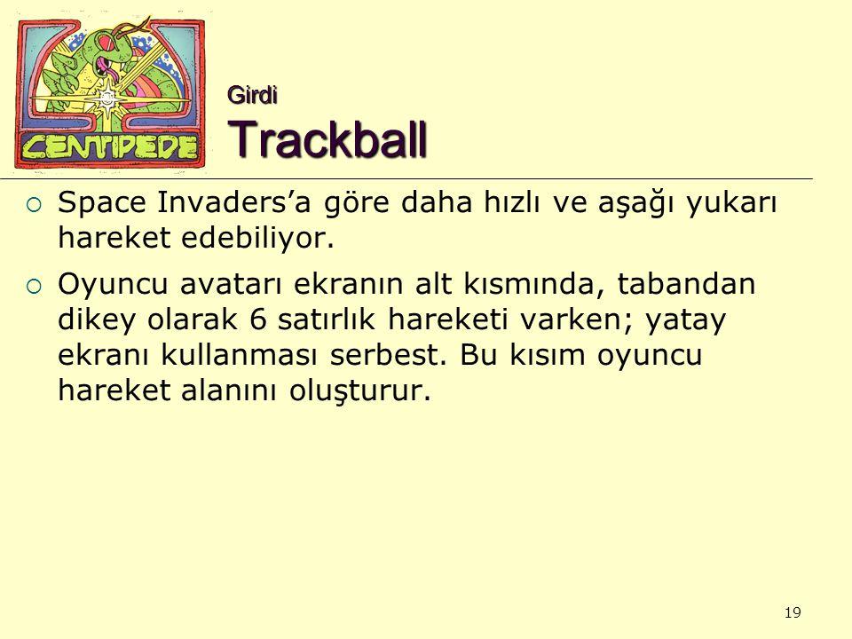 19 Girdi Trackball  Space Invaders'a göre daha hızlı ve aşağı yukarı hareket edebiliyor.  Oyuncu avatarı ekranın alt kısmında, tabandan dikey olarak