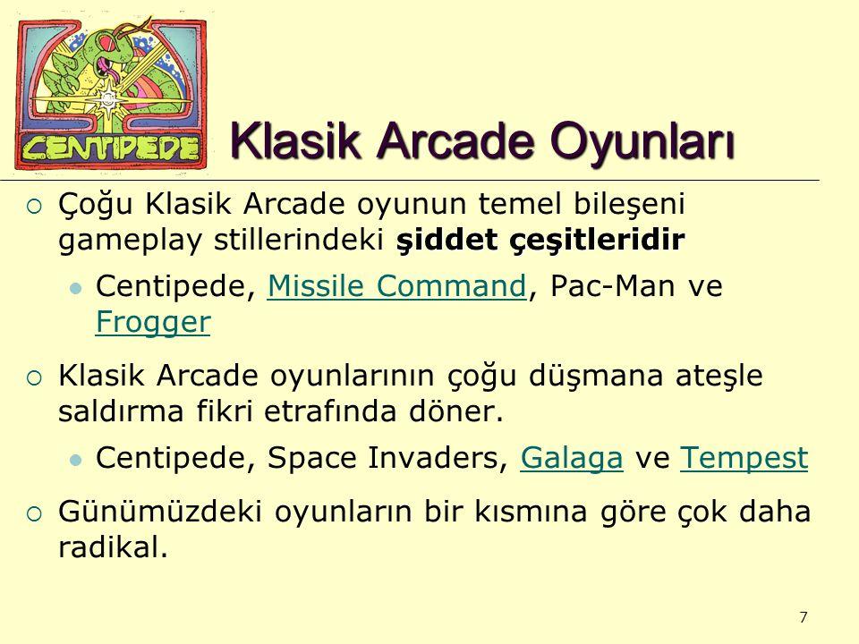 7 Klasik Arcade Oyunları şiddet çeşitleridir  Çoğu Klasik Arcade oyunun temel bileşeni gameplay stillerindeki şiddet çeşitleridir Centipede, Missile Command, Pac-Man ve FroggerMissile Command Frogger  Klasik Arcade oyunlarının çoğu düşmana ateşle saldırma fikri etrafında döner.