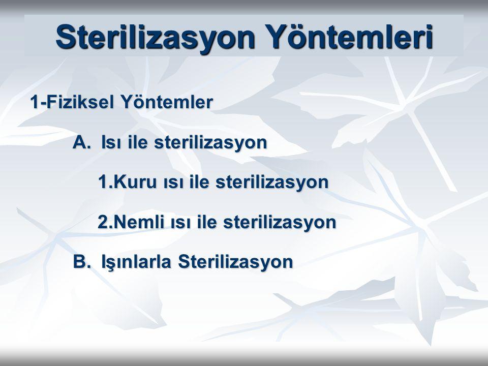 Sterilizasyon Yöntemleri 1-Fiziksel Yöntemler A.Isı ile sterilizasyon 1.Kuru ısı ile sterilizasyon 2.Nemli ısı ile sterilizasyon B.Işınlarla Steriliza