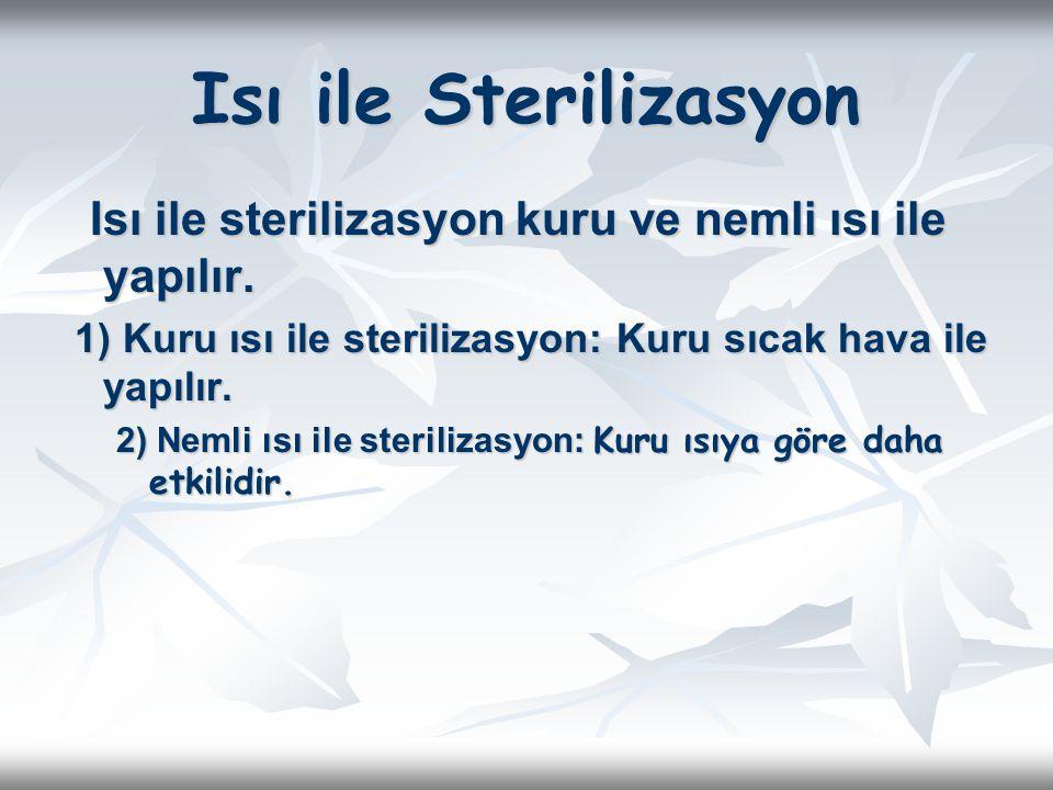 Isı ile Sterilizasyon Isı ile sterilizasyon kuru ve nemli ısı ile yapılır. Isı ile sterilizasyon kuru ve nemli ısı ile yapılır. 1) Kuru ısı ile steril