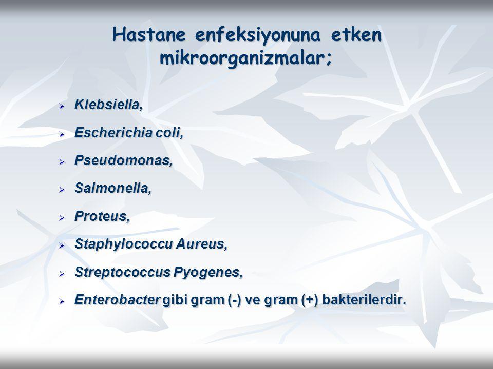 Hastane enfeksiyonuna etken mikroorganizmalar;  Klebsiella,  Escherichia coli,  Pseudomonas,  Salmonella,  Proteus,  Staphylococcu Aureus,  Str