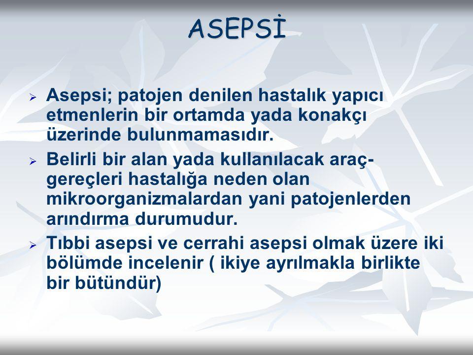 ASEPSİ   Asepsi; patojen denilen hastalık yapıcı etmenlerin bir ortamda yada konakçı üzerinde bulunmamasıdır.   Belirli bir alan yada kullanılacak