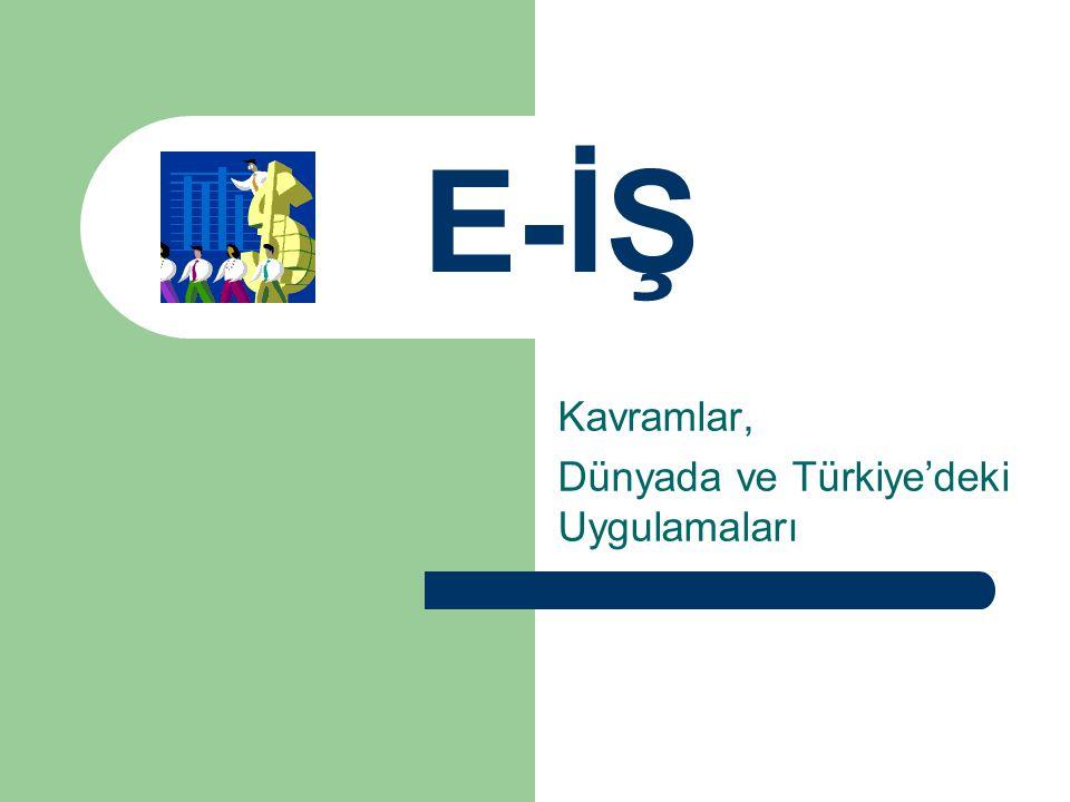 E-İŞ'in TEMELİ Teknoloji yatırımı Yeni iş süreçleri Strateji gerektirir: – Sadece BT işi değil – Pazarlama/Satış tekniklerinin gözden çeçirilmesini (Hızlı ve müşteri odaklı çalışmak) – Rekabet – Bilgi Yönetimi – Müşteri İlişkilerini Yönetimi