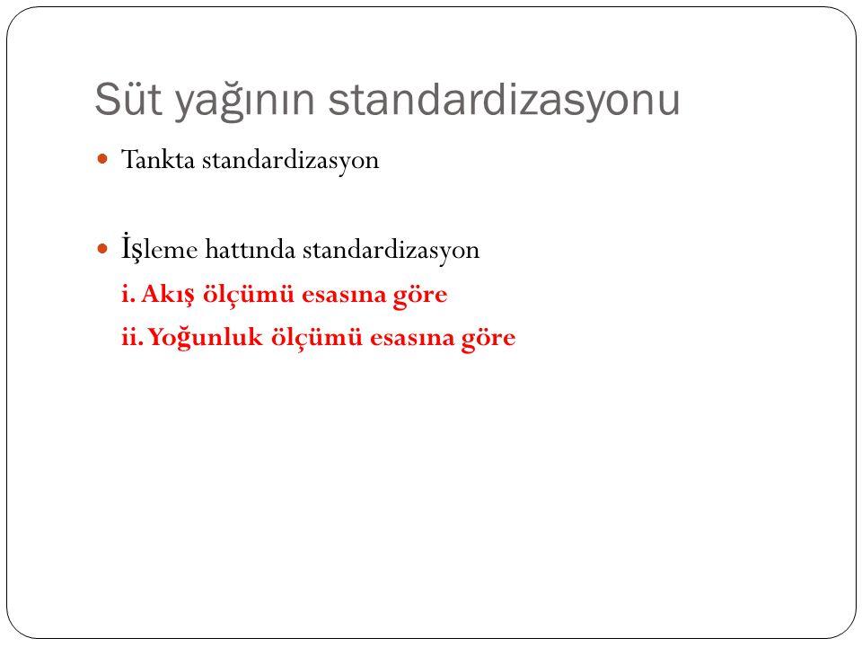 Süt yağının standardizasyonu Tankta standardizasyon İş leme hattında standardizasyon i.