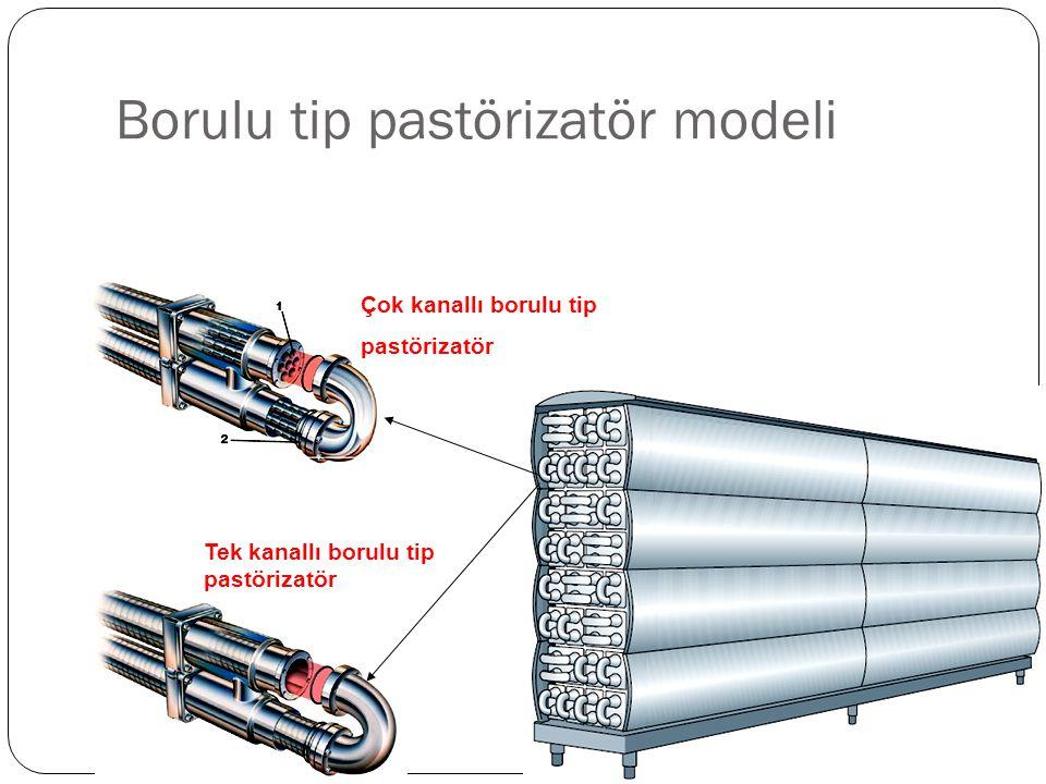 Borulu tip pastörizatör modeli Çok kanallı borulu tip pastörizatör Tek kanallı borulu tip pastörizatör