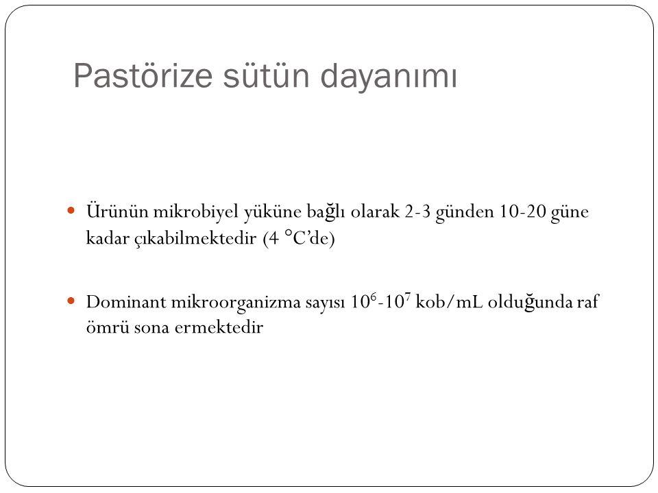 Pastörize sütün dayanımı Ürünün mikrobiyel yüküne ba ğ lı olarak 2-3 günden 10-20 güne kadar çıkabilmektedir (4  C'de) Dominant mikroorganizma sayısı 10 6 -10 7 kob/mL oldu ğ unda raf ömrü sona ermektedir