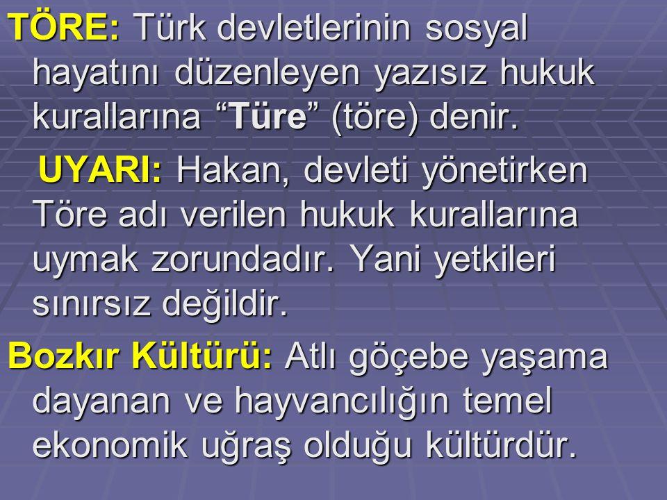 """TÖRE: Türk devletlerinin sosyal hayatını düzenleyen yazısız hukuk kurallarına """"Türe"""" (töre) denir. UYARI: Hakan, devleti yönetirken Töre adı verilen h"""