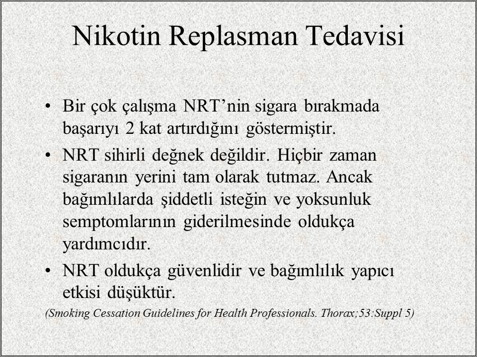 Hangi ilaç seçilmeli? Nikotin Replasman Tedavisi (NRT) ya da Bupropion Nikotin formları arasında genel olarak ayrım yok (Sakız, bant, nazal sprey, inh
