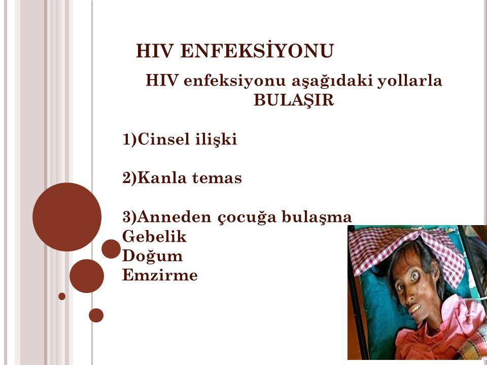 HIV ENFEKSİYONU HIV enfeksiyonu aşağıdaki yollarla BULAŞIR 1)Cinsel ilişki 2)Kanla temas 3)Anneden çocuğa bulaşma Gebelik Doğum Emzirme