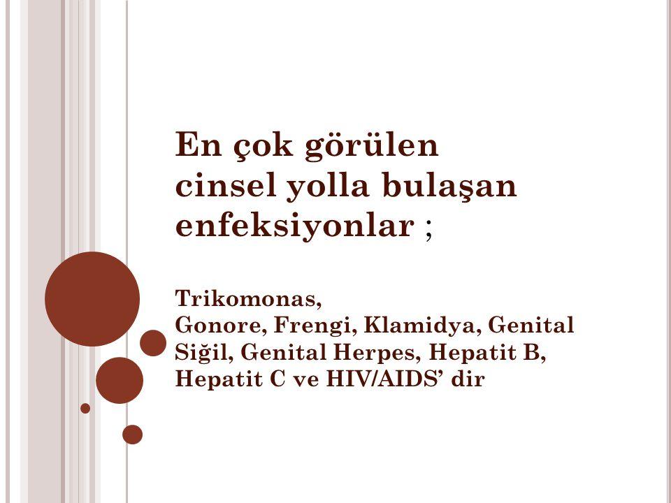 En çok görülen cinsel yolla bulaşan enfeksiyonlar ; Trikomonas, Gonore, Frengi, Klamidya, Genital Siğil, Genital Herpes, Hepatit B, Hepatit C ve HIV/AIDS' dir