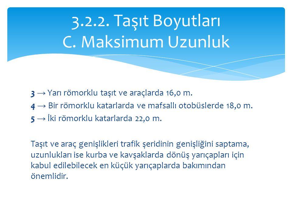 3 → 3 → Yarı römorklu taşıt ve araçlarda 16,0 m. 4 → 4 → Bir römorklu katarlarda ve mafsallı otobüslerde 18,0 m. 5 → 5 → İki römorklu katarlarda 22,0