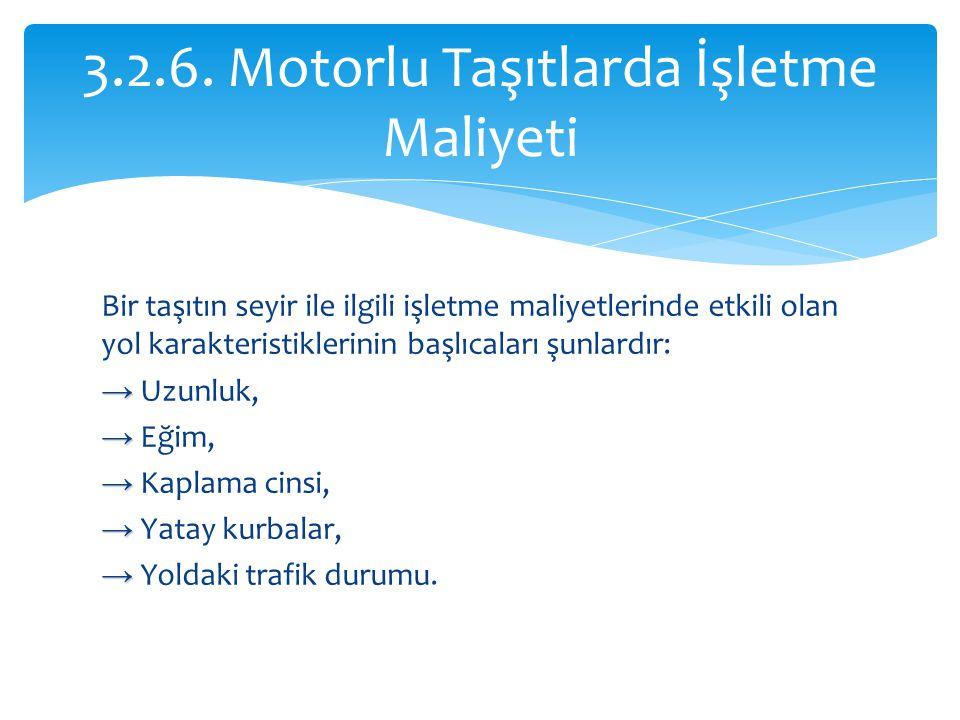 Bir taşıtın seyir ile ilgili işletme maliyetlerinde etkili olan yol karakteristiklerinin başlıcaları şunlardır: → → Uzunluk, → → Eğim, → → Kaplama cin