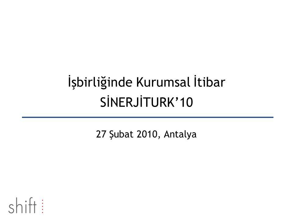 İşbirliğinde Kurumsal İtibar SİNERJİTURK'10 27 Şubat 2010, Antalya