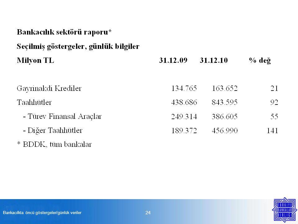 Bankacılkta öncü göstergeler/günlük veriler 24