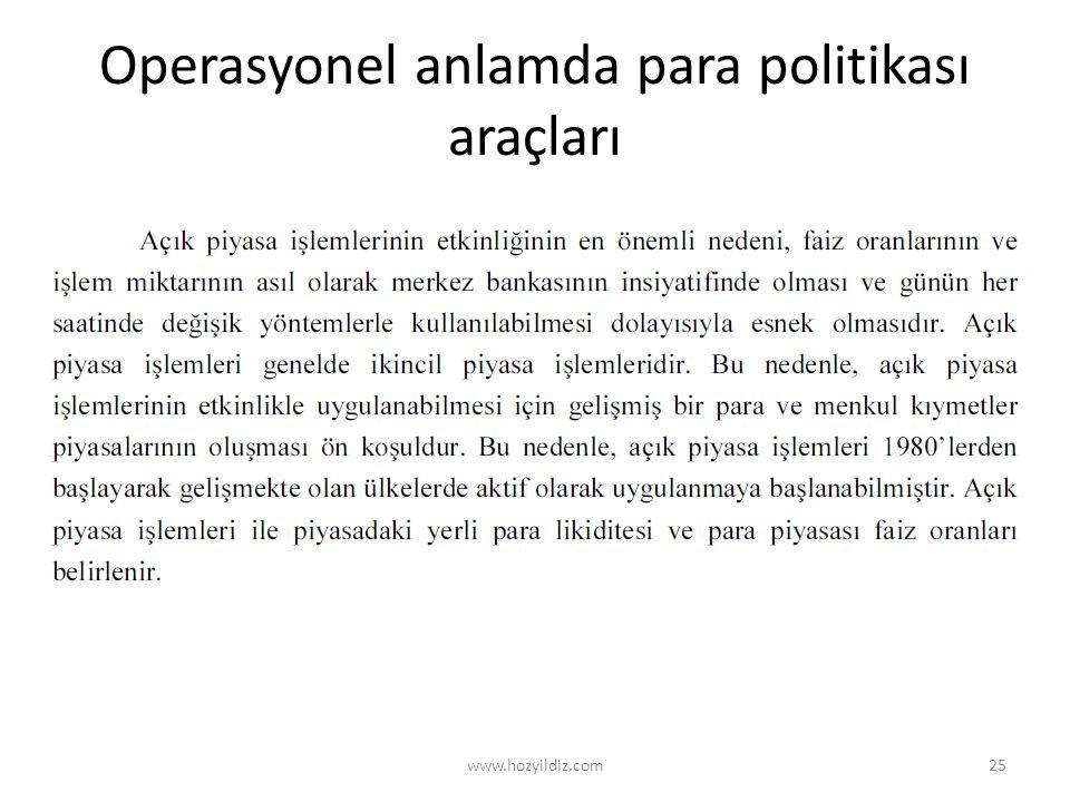 Operasyonel anlamda para politikası araçları www.hozyildiz.com25
