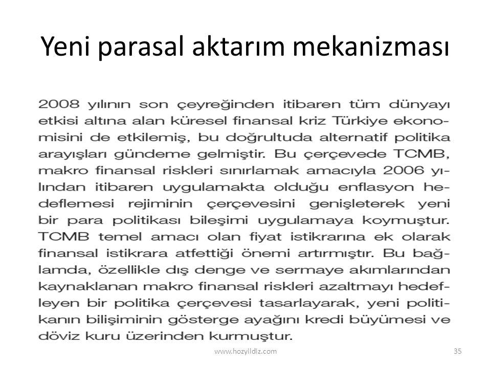 Yeni parasal aktarım mekanizması www.hozyildiz.com35