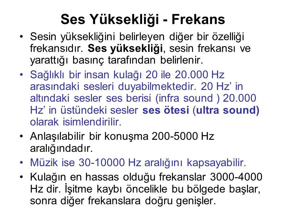 Ses Yüksekliği - Frekans Sesin yüksekliğini belirleyen diğer bir özelliği frekansıdır. Ses yüksekliği, sesin frekansı ve yarattığı basınç tarafından b