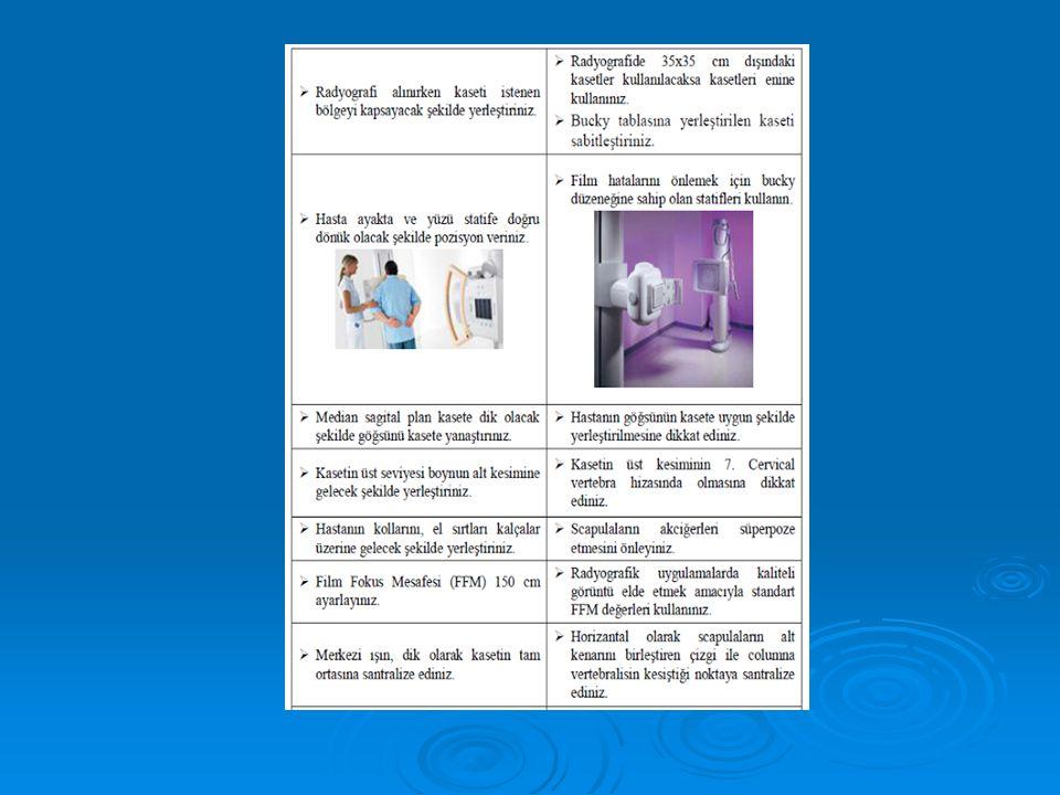  Radyografide incelemesi yapılacak tarafa göre kasetin sağ R veya sol L tarafına işaret koyunuz.