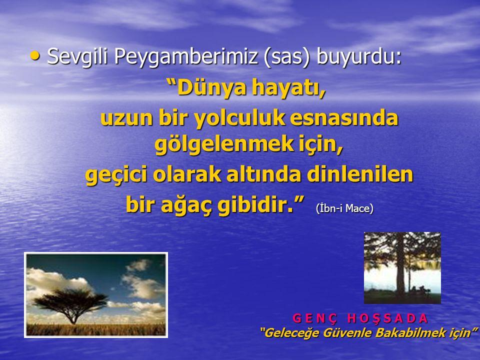 Sevgili Peygamberimiz (sas) buyurdu: Sevgili Peygamberimiz (sas) buyurdu: Dünya hayatı, Dünya hayatı, uzun bir yolculuk esnasında gölgelenmek için, uzun bir yolculuk esnasında gölgelenmek için, geçici olarak altında dinlenilen geçici olarak altında dinlenilen bir ağaç gibidir. (İbn-i Mace) bir ağaç gibidir. (İbn-i Mace) G E N Ç H O Ş S A D A Geleceğe Güvenle Bakabilmek için G E N Ç H O Ş S A D A Geleceğe Güvenle Bakabilmek için