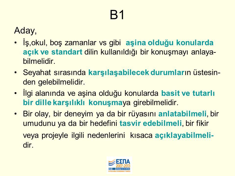 B1 Aday, İş,okul, boş zamanlar vs gibi aşina olduğu konularda açık ve standart dilin kullanıldığı bir konuşmayı anlaya- bilmelidir.