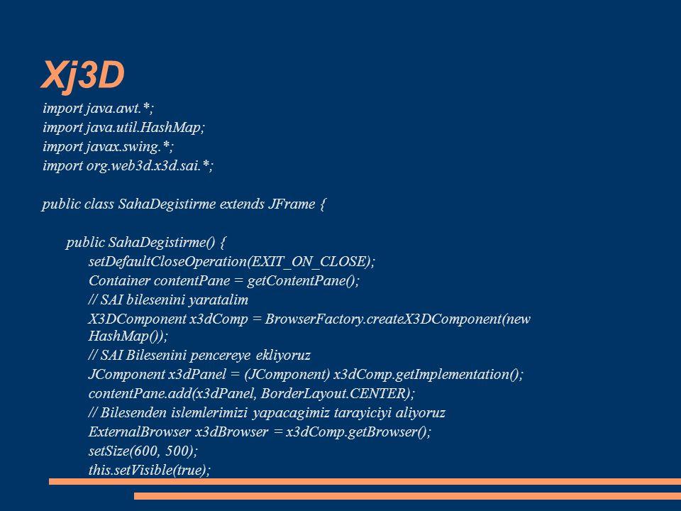 Xj3D import java.awt.*; import java.util.HashMap; import javax.swing.*; import org.web3d.x3d.sai.*; public class SahaDegistirme extends JFrame { publi