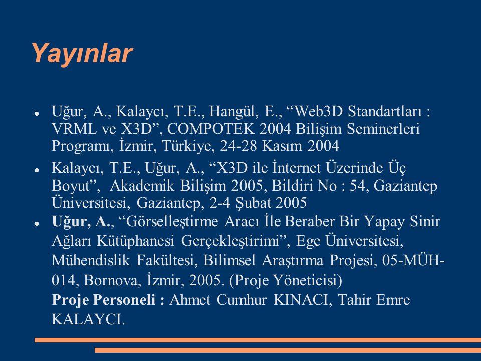 """Yayınlar Uğur, A., Kalaycı, T.E., Hangül, E., """"Web3D Standartları : VRML ve X3D"""", COMPOTEK 2004 Bilişim Seminerleri Programı, İzmir, Türkiye, 24-28 Ka"""
