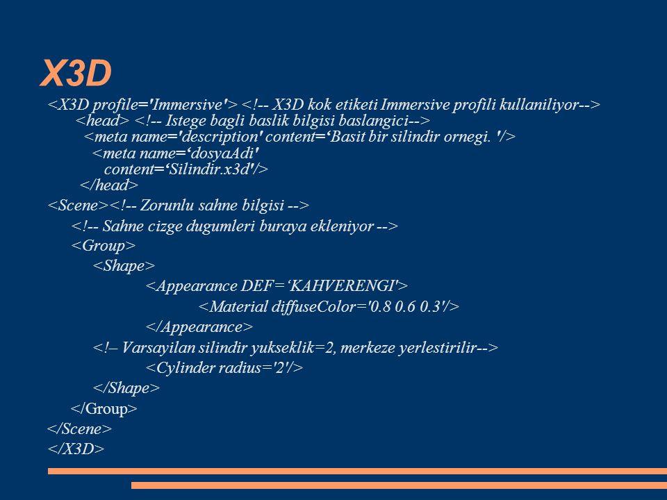 Xj3D SAI  Tarayıcının işlevselliğine erişim  Tarayıcı eylemleriyle ilgili bildirilerin alınması, örneğin kötü URL, başlama ve kapanma gibi.