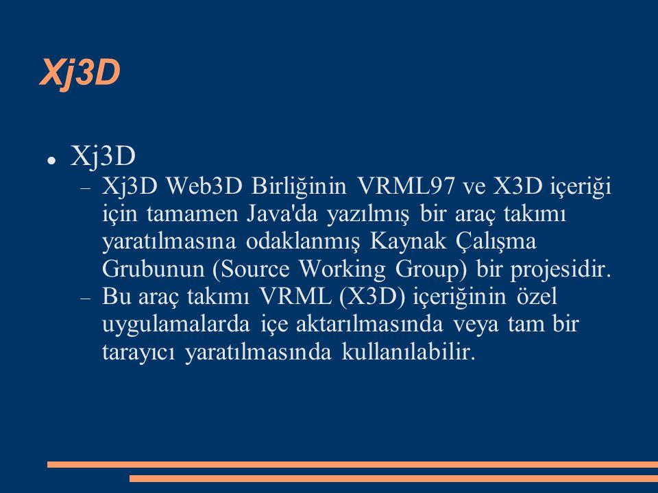Xj3D  Xj3D Web3D Birliğinin VRML97 ve X3D içeriği için tamamen Java'da yazılmış bir araç takımı yaratılmasına odaklanmış Kaynak Çalışma Grubunun (Sou