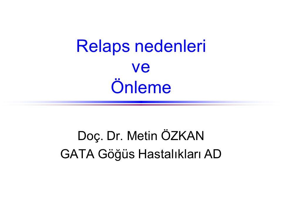 Relaps nedenleri ve Önleme Doç. Dr. Metin ÖZKAN GATA Göğüs Hastalıkları AD