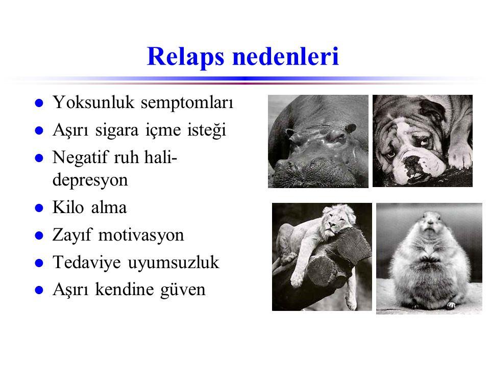 Relaps nedenleri l Yoksunluk semptomları l Aşırı sigara içme isteği l Negatif ruh hali- depresyon l Kilo alma l Zayıf motivasyon l Tedaviye uyumsuzluk