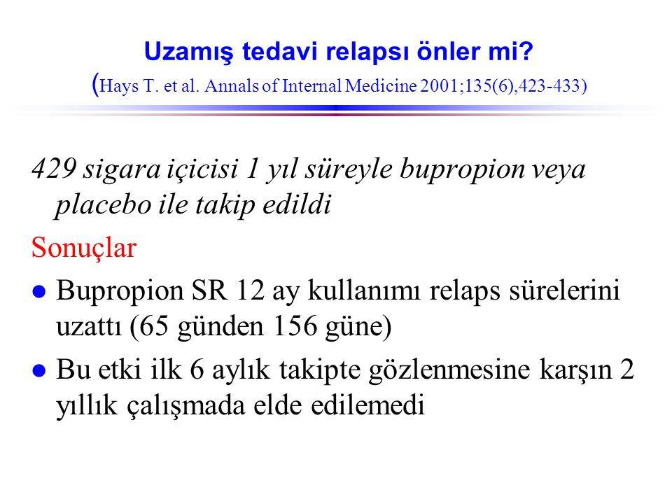 Uzamış tedavi relapsı önler mi? ( Hays T. et al. Annals of Internal Medicine 2001;135(6),423-433) 429 sigara içicisi 1 yıl süreyle bupropion veya plac