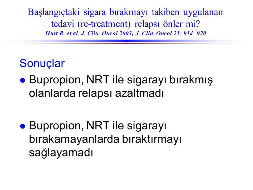 Başlangıçtaki sigara bırakmayı takiben uygulanan tedavi (re-treatment) relapsı önler mi? Hurt R. et al. J. Clin. Oncol 2003; J. Clin. Oncol 21: 914- 9