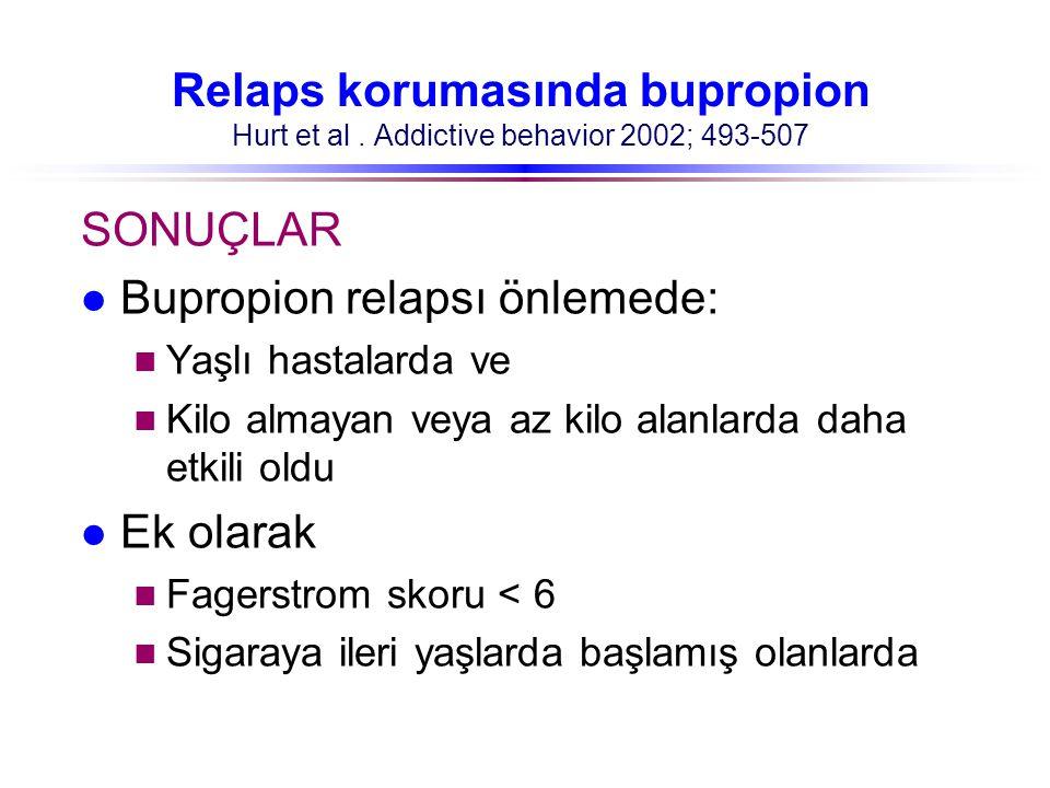 Relaps korumasında bupropion Hurt et al. Addictive behavior 2002; 493-507 SONUÇLAR l Bupropion relapsı önlemede: n Yaşlı hastalarda ve n Kilo almayan