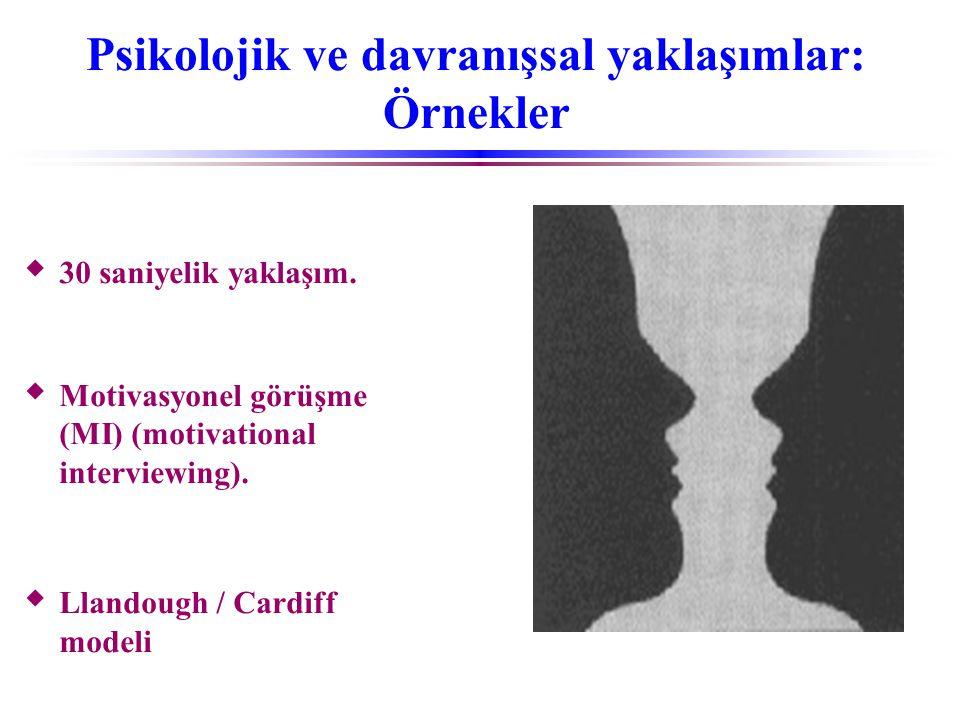 Psikolojik ve davranışsal yaklaşımlar: Örnekler  30 saniyelik yaklaşım.  Motivasyonel görüşme (MI) (motivational interviewing).  Llandough / Cardif