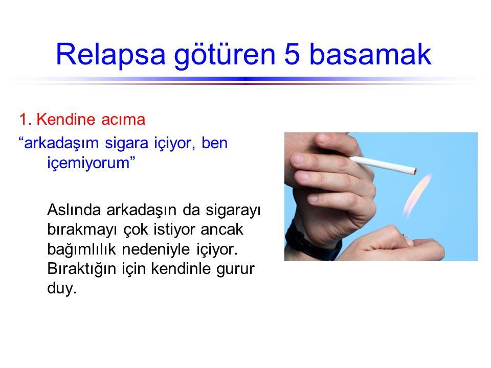 """Relapsa götüren 5 basamak 1. Kendine acıma """"arkadaşım sigara içiyor, ben içemiyorum"""" Aslında arkadaşın da sigarayı bırakmayı çok istiyor ancak bağımlı"""