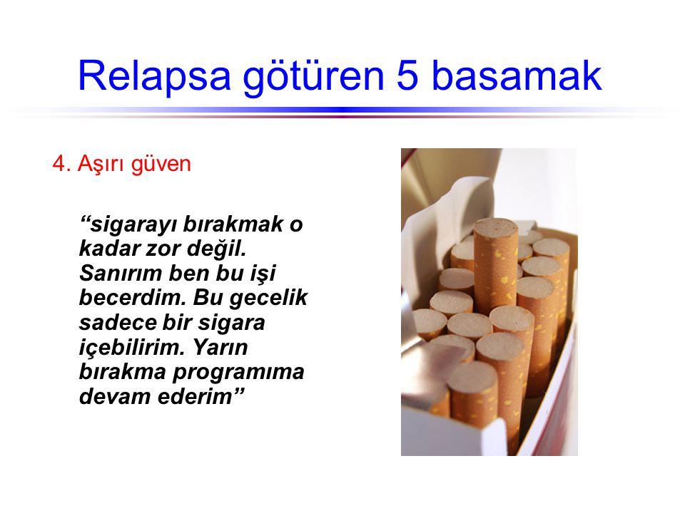 """Relapsa götüren 5 basamak 4. Aşırı güven """"sigarayı bırakmak o kadar zor değil. Sanırım ben bu işi becerdim. Bu gecelik sadece bir sigara içebilirim. Y"""