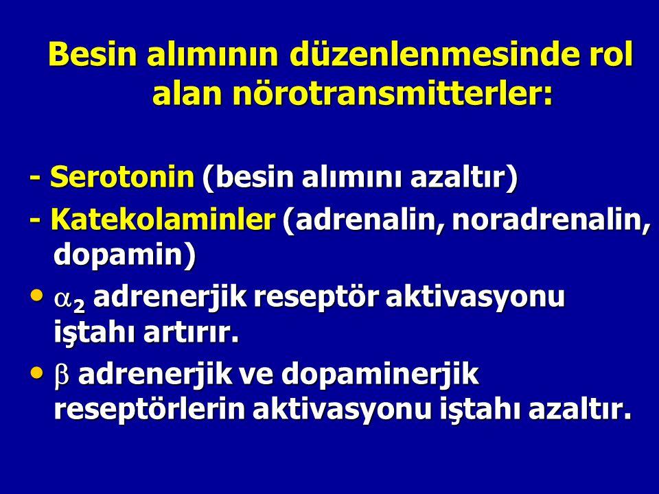 Besin alımının düzenlenmesinde rol alan nörotransmitterler: - Serotonin (besin alımını azaltır) - Katekolaminler (adrenalin, noradrenalin, dopamin) 