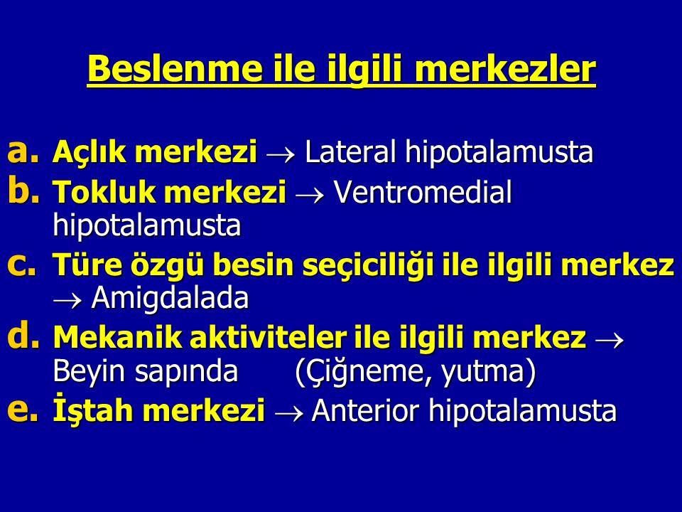 Beslenme ile ilgili merkezler a. Açlık merkezi  Lateral hipotalamusta b. Tokluk merkezi  Ventromedial hipotalamusta c. Türe özgü besin seçiciliği il