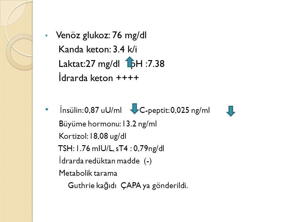Venöz glukoz: 76 mg/dl Kanda keton: 3.4 k/i Laktat:27 mg/dl pH :7.38 İ drarda keton ++++ İ nsülin: 0,87 uU/ml C-peptit: 0,025 ng/ml Büyüme hormonu: 13