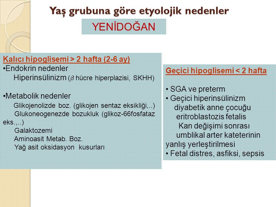 Yaş grubuna göre etyolojik nedenler YENİDOĞAN Geçici hipoglisemi < 2 hafta SGA ve preterm Geçici hiperinsülinizm diyabetik anne çocuğu eritroblastozis
