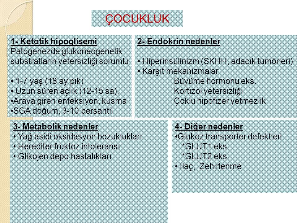 ÇOCUKLUK 1- Ketotik hipoglisemi Patogenezde glukoneogenetik substratların yetersizliği sorumlu 1-7 yaş (18 ay pik) Uzun süren açlık (12-15 sa), Araya