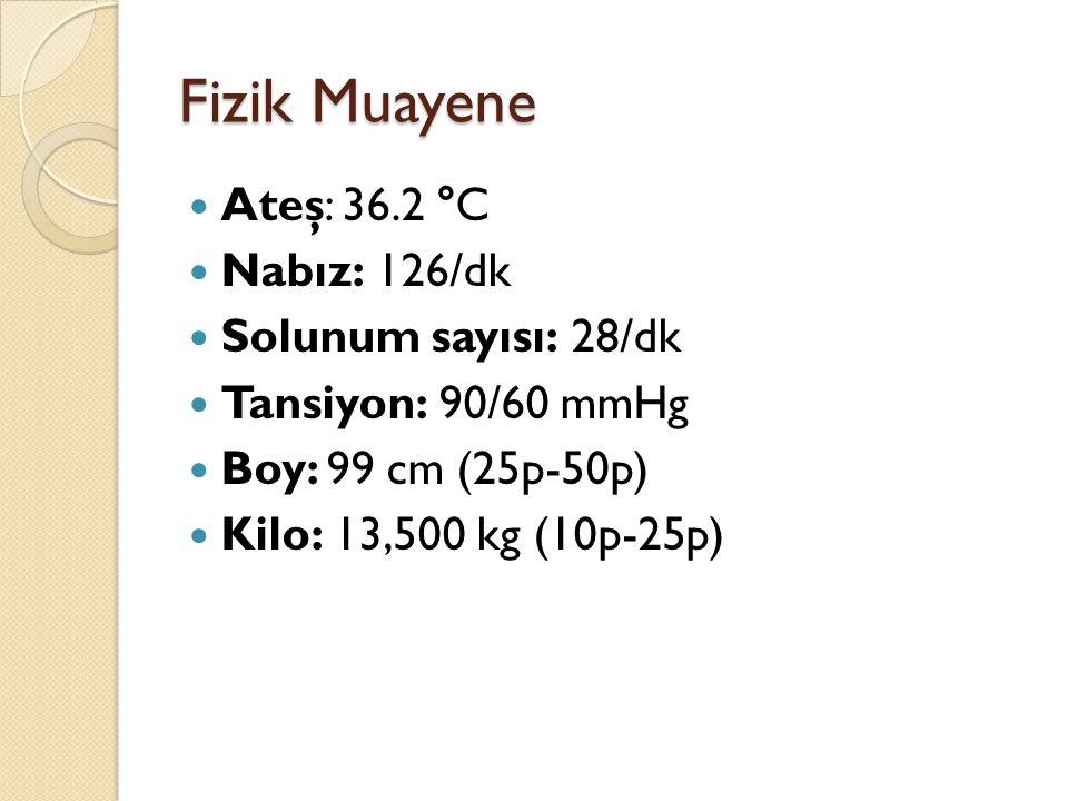 Fizik Muayene Ateş: 36.2 °C Nabız: 126/dk Solunum sayısı: 28/dk Tansiyon: 90/60 mmHg Boy: 99 cm (25p-50p) Kilo: 13,500 kg (10p-25p)