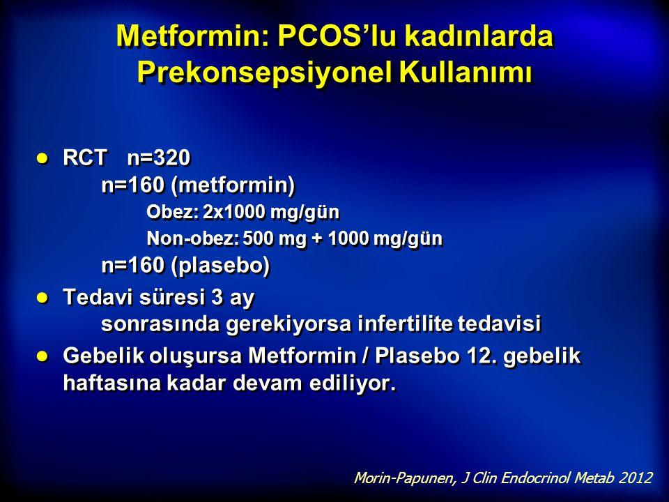 Metformin: PCOS'lu kadınlarda Prekonsepsiyonel Kullanımı ● RCT n=320 n=160 (metformin) Obez: 2x1000 mg/gün Non-obez: 500 mg + 1000 mg/gün n=160 (plase