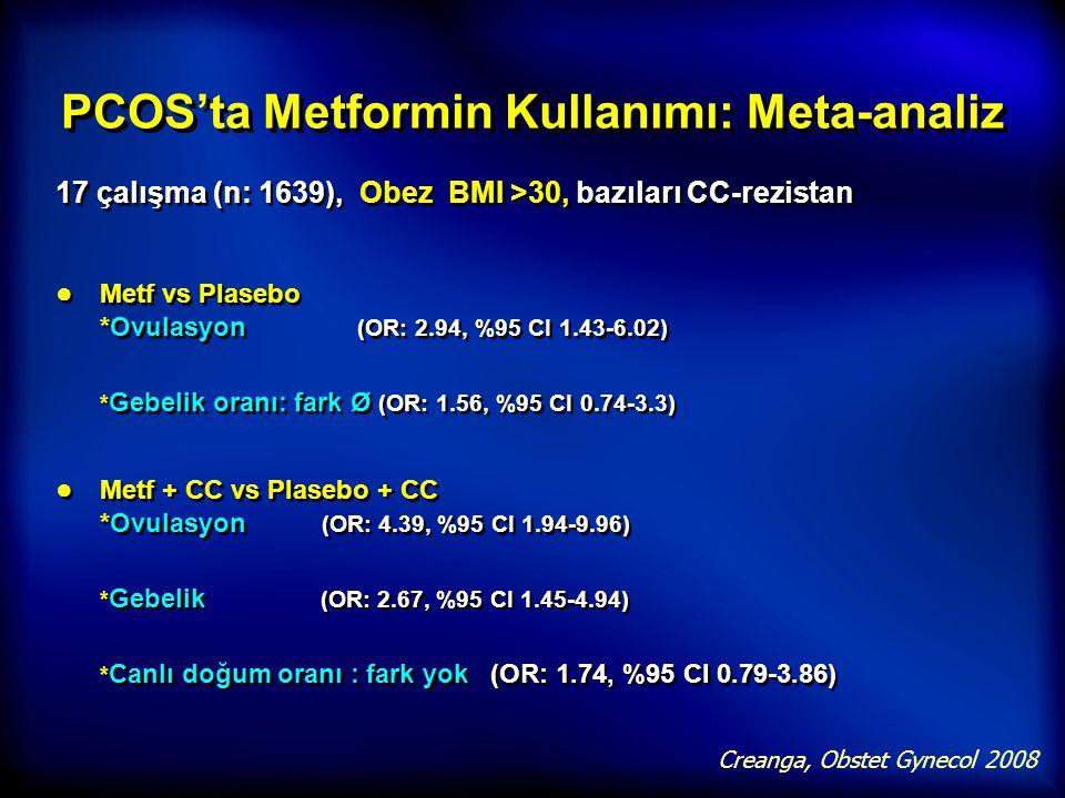 PCOS'ta Metformin Kullanımı: Meta-analiz 17 çalışma (n: 1639), Obez BMI >30, bazıları CC-rezistan ● Metf vs Plasebo *Ovulasyon  (OR: 2.94, %95 CI 1.4