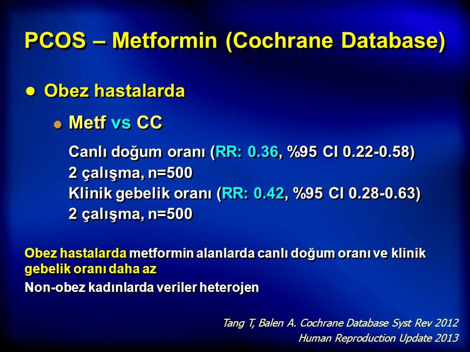 PCOS – Metformin (Cochrane Database) ● Obez hastalarda Metf vs CC Canlı doğum oranı (RR: 0.36, %95 CI 0.22-0.58) 2 çalışma, n=500 Klinik gebelik oranı