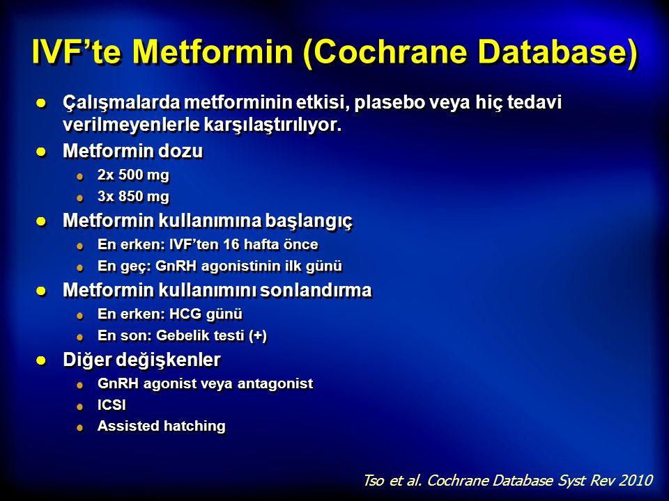 IVF'te Metformin (Cochrane Database) ● Çalışmalarda metforminin etkisi, plasebo veya hiç tedavi verilmeyenlerle karşılaştırılıyor. ● Metformin dozu 2x