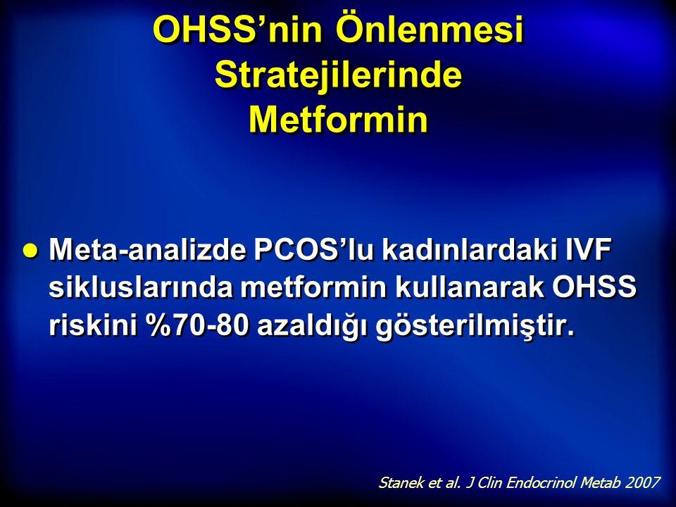 OHSS'nin Önlenmesi Stratejilerinde Metformin ● Meta-analizde PCOS'lu kadınlardaki IVF sikluslarında metformin kullanarak OHSS riskini %70-80 azaldığı
