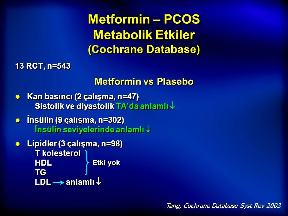 Metformin – PCOS Metabolik Etkiler (Cochrane Database) 13 RCT, n=543 Metformin vs Plasebo ● Kan basıncı (2 çalışma, n=47) Sistolik ve diyastolik TA'da