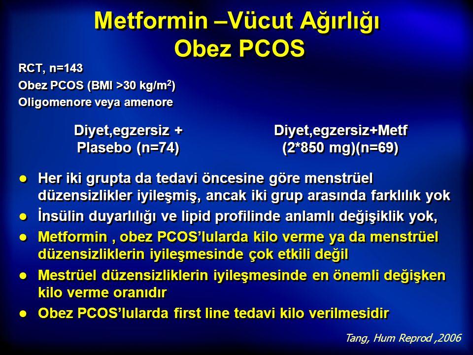 Metformin –Vücut Ağırlığı Obez PCOS RCT, n=143 Obez PCOS (BMI >30 kg/m 2 ) Oligomenore veya amenore RCT, n=143 Obez PCOS (BMI >30 kg/m 2 ) Oligomenore